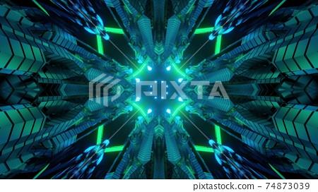 Sci fi corridor interior design 3d illustration 74873039
