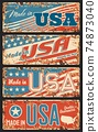 Made in USA rusty metal plate, signboard vector 74873040