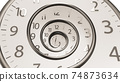 Golden Classic Round Clock with time hands turn backward infinity.  74873634