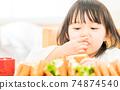 A girl who eats a sandwich 74874540