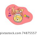 父母和孩子製作糖果,碗,雞蛋和麵團的插圖 74875557