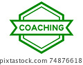 Vintage green color hexagon label banner with word coaching on white background 74876618