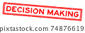 Grunge red decision making word square rubber seal stamp on white background 74876619