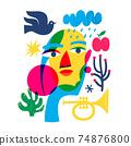 Abstract modern style line art woman portrait design. 74876800