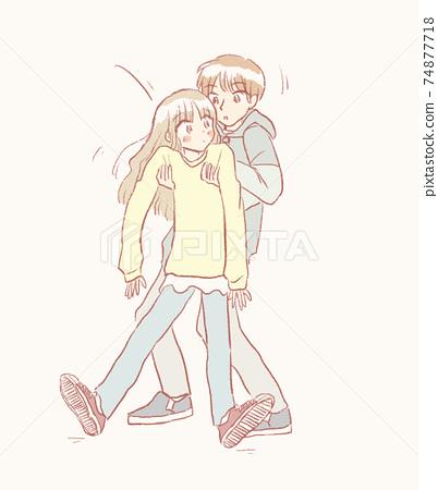A boy helping a mossy girl 74877718