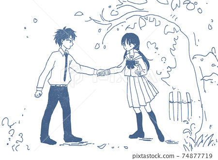 Boy pulling a girl's hand 74877719