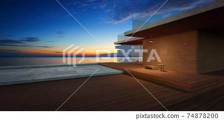 Modern wooden house exterior with cement and wooden dock platform 74878200
