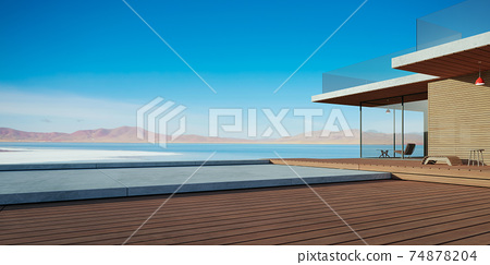 Modern wooden house exterior with cement and wooden dock platform 74878204