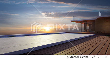 Modern wooden house exterior with cement and wooden dock platform 74878206