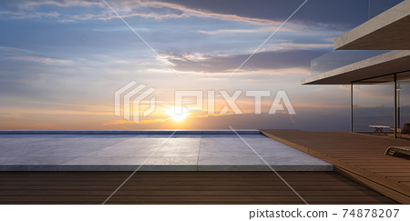 Modern wooden house exterior with cement and wooden dock platform 74878207