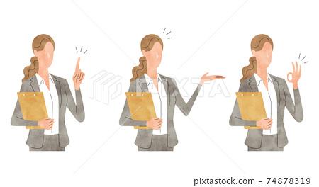 矢量圖材料:文件,設置,商業場景的年輕女子 74878319