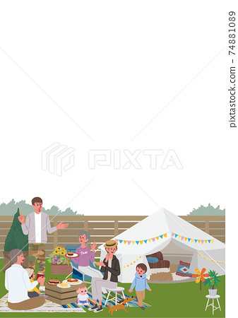 Belamping第三代父母和孩子插圖野餐營 74881089