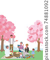 Cherry-blossom viewing, illustration of three generations of parents and children, picnic camp 74881092