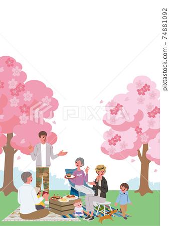 꽃놀이 세 부모와 자식의 일러스트 피크닉 캠프 74881092
