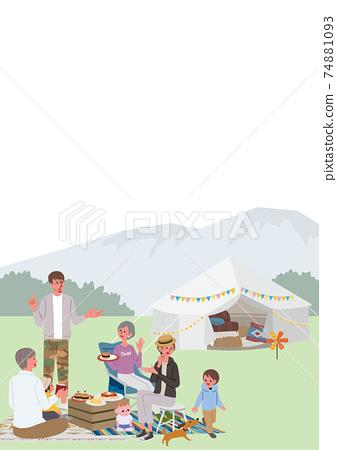 三代父母和孩子露營野餐的插圖 74881093