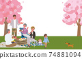 Illustration of three generations of parents and children watching cherry blossoms Picnic camp 74881094