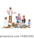 Belamping 3rd generation parent and child illustration picnic camp 74881095