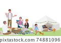 Camp belamping illustration of three generations parent and child picnic 74881096