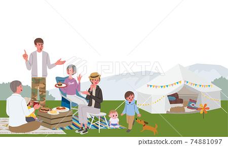 캠핑을하는 세 부모와 자식의 일러스트 피크닉 74881097