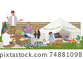 Belamping 3rd generation parent and child illustration picnic camp 74881098