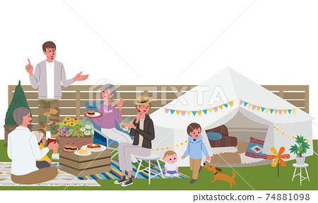 베란삔구 세 부모와 자식의 일러스트 피크닉 캠프 74881098