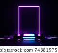 3d rendering empty neon podium with glowing pink frame on dark background. 74881575