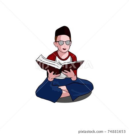 Kid Read Book Wear Cap Illustration Design 74881653