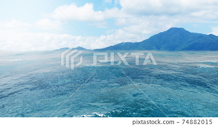 Summer view of the sea and mountain range. Island of rocks in the ocean, mountain island on the horizon, panorama of ocean landscape with island, 3D rendering 74882015