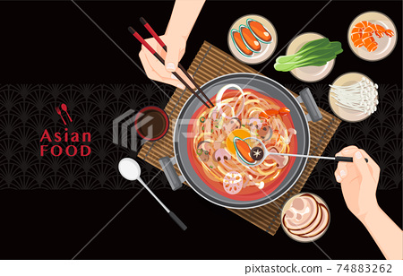 chinese hot pot Asian food, Eating Shabu Shabu and Sukiyaki in hot pot , vector 74883262