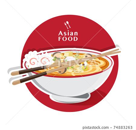 Japanese ramen noodle, Traditional Asian noodle soup, Illustration vector. 74883263