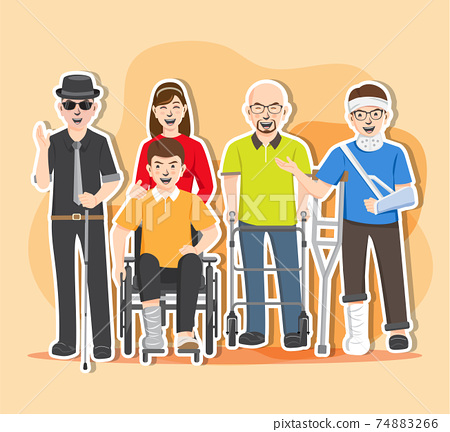Disabled people illustration vector, World Disability Day 74883266