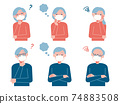 Set illustrations of senior men and women wearing masks (questions / worries) 74883508