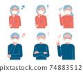 Set illustration of senior men and women wearing masks (safety and solution) 74883512