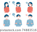 Set illustrations of young men and women wearing masks (questions / worries) 74883516