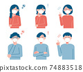 Set illustration of young men and women wearing masks (safety and solution) 74883518