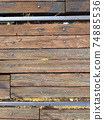 View from above old dirty wood railroad track 74885536