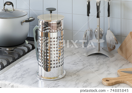 Press pot, French press on the kitchen table. 3D rendering 74885845