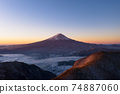 Mt. Fuji aerial view of the sunrise, Shindo Pass, sea of clouds 74887060