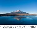 Mt. Fuji, Lake Yamanaka, aerial photography, winter scenery 74887061