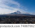 Mt. Fuji, over Oshino Village, aerial view, snow cover 74887062