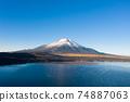 Lake Yamanaka, Mt. Fuji, Fuji Five Lakes, lake surface, drone aerial view 74887063