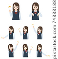 Student girl student beautiful girl finger pose set orientation position illustration material 74888188