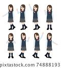 Student girl student beautiful girl finger pose orientation illustration material 74888193
