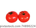 2 tomatoes on a white background 74890224
