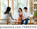 一對年輕夫婦在拜訪業務中得到解釋 74890346