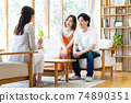 一對年輕夫婦在拜訪業務中得到解釋 74890351