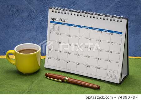 April 2021 - spiral desktop calendar 74890787