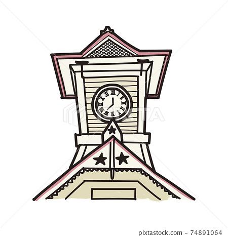 北海道鐘樓的手繪風格插圖(彩色) 74891064
