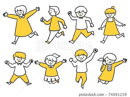 달리거나 날거나하는 아이들 74891239