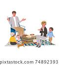 Camp belamping family illustration picnic 74892393